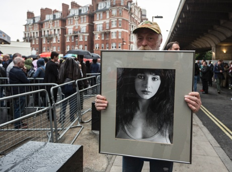 Ian, 67, from Hammersmith with his photograph of Kate Bush, outside Hammersmith Apollo. He doesn't have a ticket.  Photograph: David Levene