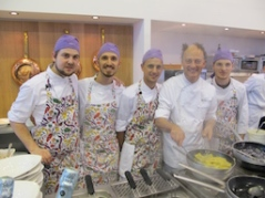 Stellar Chef Moreno Cedroni with his purple team