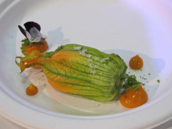 Lo Basso 's pumpkin flower filled with burrata