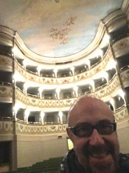 This is me ,sourrended-by the beauty of the Teatro-Accademico dated1778